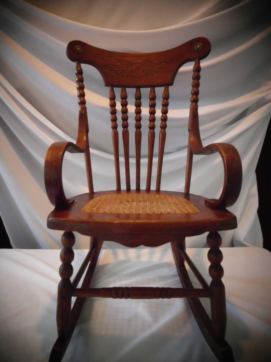 Antique Childs Rocking Chair Oak Cane Bentwood Arms Spindle