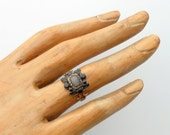 Antique Georgian Hair Ring. Mourning. Whitby Jet Rock Crystal 14K Gold. 1821.