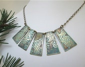 Five Delicate Etched Brass Pendants Necklace Beautiful Pine Bough with Cones