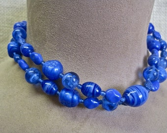 Miriam Haskell Necklace Cobalt Blue Glass Beads BRILLIANT Statement Vintage 60s Signed Striated Art Glass