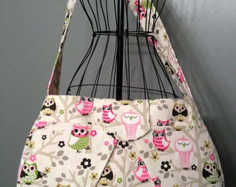 Large Hobo Diaper Bag - Owl Print