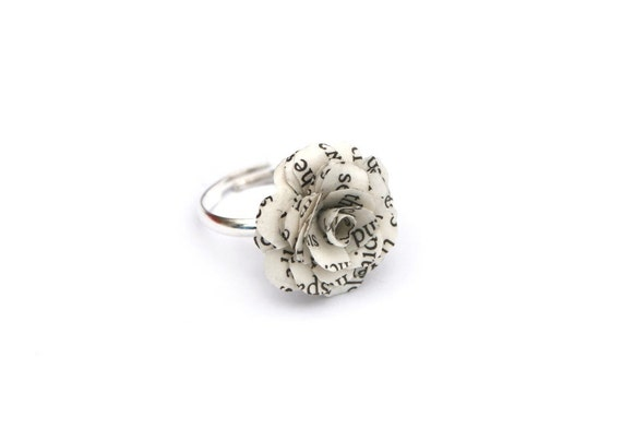 Book Flower Ring -  Lord of the Rings, Jane Eyre, Harry Potter, etc - ring made from book pages & an Adjustable silver tone Base