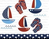 Nautical clip art red white blue navy flip flops clipart USA star digital paper patriotic : c0292 v301