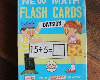 Vintage Children's New Math Flash Cards - Division (Milton Bradley 1965)