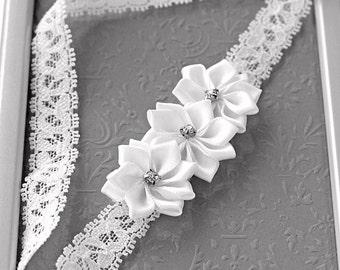 The Purity Headband - Mini Satin Flower & Lace Baptism Headband - White Lace Newborn Headband