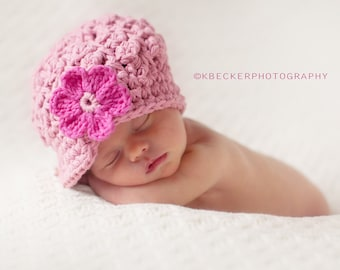 Crochet Baby Hat, newborn hat, kids hat, crochet newsboy hat, hat for girls