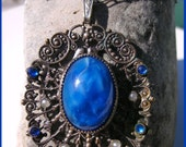 Vintage Deco Czech Lapis Art Glass and Seed Pearl Filigree Pendant