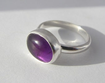 Amethyst Ring, Sterling Silver Ring, Oval Natural Amethyst Cabochon, Gemstone Ring