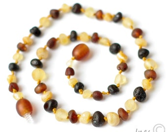 Genuine Raw Unpolished Baltic Amber Baby Teething Necklace