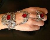 Gothic Silver Wings Slave Bracelet - Swarovski Silver Bracelet  - Gothic Jewelry