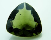 Extraterrestrial RARE Green Moldavite Loose Trillion Cut Faceted Stone 1.60 carats, for Jewelry Making, Collectible, FREE SHIPPING