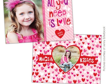 INSTANT DOWNLOAD  - Valentine's Day Photocard Template - Silly Love - E681