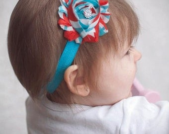 Red and Turquoise Shabby Striped Flower Rose Headband - Photo Prop - Newborn Baby Hairbow - Little Girls Hair Bow - Birthday Week M2M