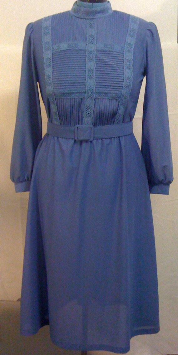 Vintage Dark Blue Long Sleeve Belted Dress by Cathy Sue Size 12 d48