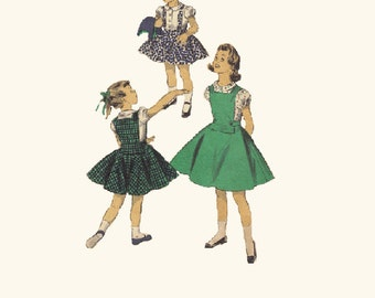 Advance 1950s Sewing Pattern 7783 Girls Full Circle Skirt Jumper Dress School Bib Front Twirl Party Size 2
