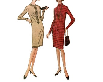 McCall's Retro 60s Sewing Pattern Casual Day Business Dress Long Sleeves High Neck Mad Men Style Fashion Bust 32