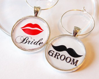 Bride Groom Charms, Wine Charms, Wedding Wine Charms, Wedding Shower, Bridal Shower, table setting, silver plate (1997)