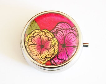 Flower Pill Box, Pill Case, Pill Container, Pink case, Floral, Gift for her, pink floral case, round pill case, Mothers Day Gift (2387)