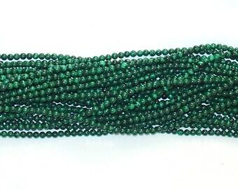 """Genuine Malachite 4mm Round Gemstone Beads - 15.75"""" Strand"""
