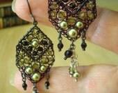 Crocheted Wire Earrings Dangle Earrings with Swarovski Crystals and Pearls Black Green Khaki Oxidized Silver Gothic Swingers OOAK Handmade