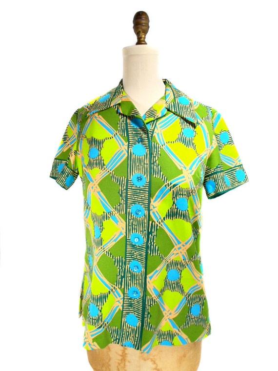 1960s Alex Coleman Blouse / Novelty Print Blouse / Button Front Shirt / Mad Men / Patterned Blouse / Womens Vintage Blouse / Size Large
