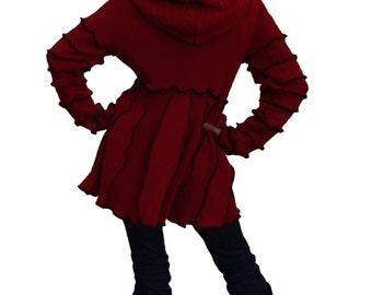 Elf Coat, Sweater Coat, Upcycled, Recycled Sweaters, Red