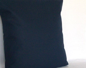 Solid Dark Blue Throw Pillow Cover, Navy - 18x18 or 20x20 inch Decorative Cushion Cover - Solid Dark Blue Sofa Pillow Case
