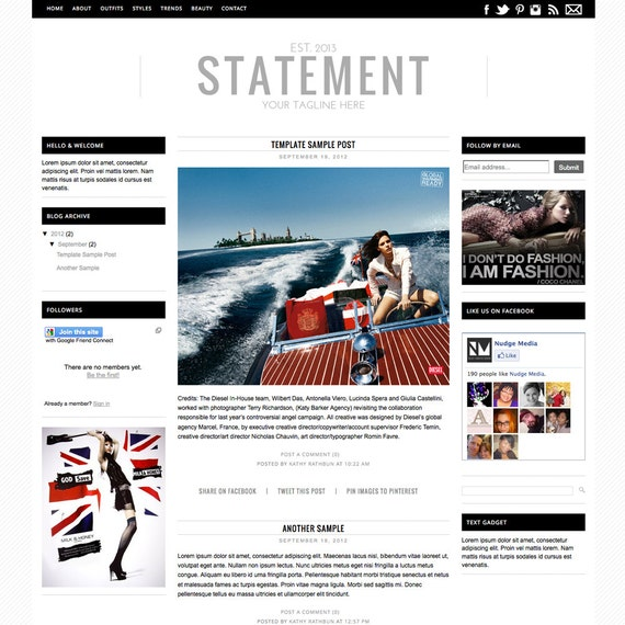 Premade blogger template 3 column fashion by nudgemediadesign for Premade columns