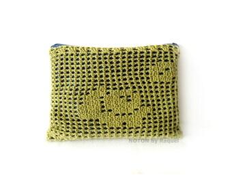 Green Crochet Clutch, Clutch Bag, Denim Clutch Purse
