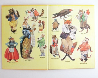 Brer Rabbit and Brer Fox - Vintage Childrens Book - First Edition Book - Yellow Book - Illustrated Book Bedtime Storybook - Mid Century Book