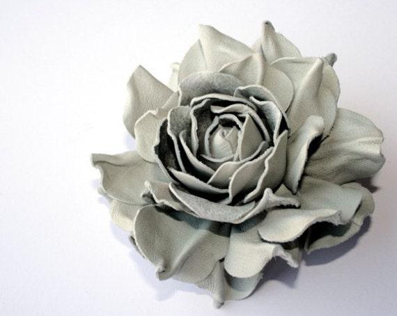 Grey Leather Rose Flower Brooch