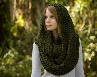 Oversized Cowl, Infinity Scarf, Olive Forest Green Woodland Scarf, Circle Scarf