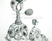 The Perfume Bottle - gicleé print - flower art - illustration - fashion art - boho art - gypsy art - gift