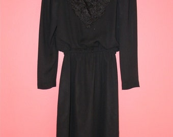 XS S Extra Small Vintage 70s LBD Black Chiffon Long Sleeves Elegant Sophisticated Gothic Indie Hipster Little Black Dress