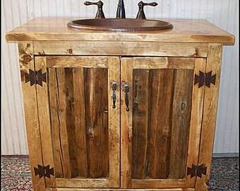 """Rustic Log Bathroom Vanity - 36"""" - Bathroom Vanity with sink - MS1371-36 - Vanity - Copper sink - Rustic Bathroom Vanity - Bathroom Vanities"""
