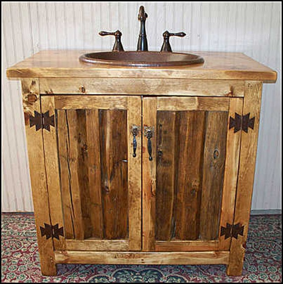 "Rustic Bathroom Vanity - Bathroom Vanity with sink - Vanity - Copper sink - Rustic Vanity - 36"" - Bathroom sink - Bathroom Cabinet - Sink"
