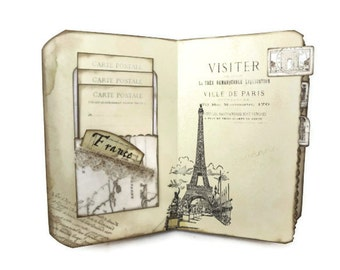 France Travel Journal, Paris Journal, Old Maps, Paris Scrapbook, Eiffel Tower, Vintage Maps, Vintage Paris, French Journal, MADE TO ORDER