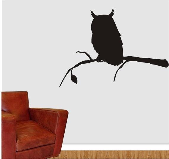 eule auf ast vinyl owl aufkleber eule silhouette wand. Black Bedroom Furniture Sets. Home Design Ideas
