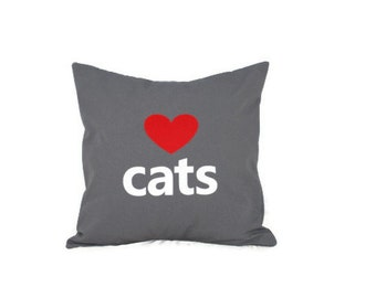 "18""x18"" Grey 'Love Cats'  Pillow COVER"