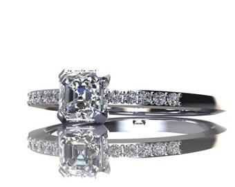Asscher Cut Diamond Engagement Ring Circle Pave Halo 14K White Gold Half Eternity