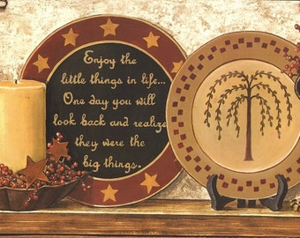 Enjoy the little things in life / Primitive Art Applied To Wood / Ready To Display / Handmade in USA