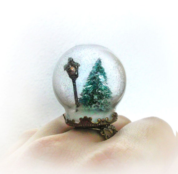 Narnia Inspired Snow Globe Ring Winter Wonderland By Uraniaart