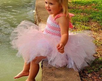 Pink Tutu Dress, Striped Tutu Dress, Newborn Toddler Girls Birthday Dress