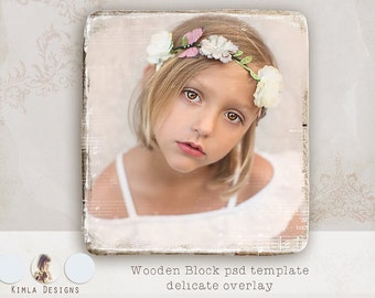 Wooden Block, psd template, Delicate Overlay 1