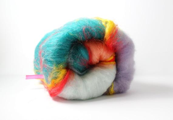 Art Batt - Rainy Day - CVM, Angelina, Mulberry Silk, Superfine Merino, BFL & Firestar - Textured Spinning Batt