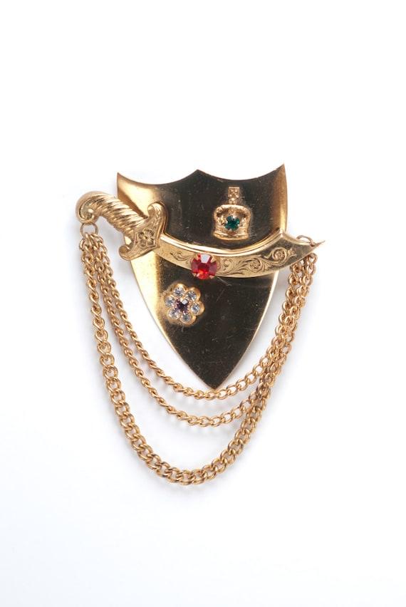 Coro Shield and Sword Brooch Pin Military
