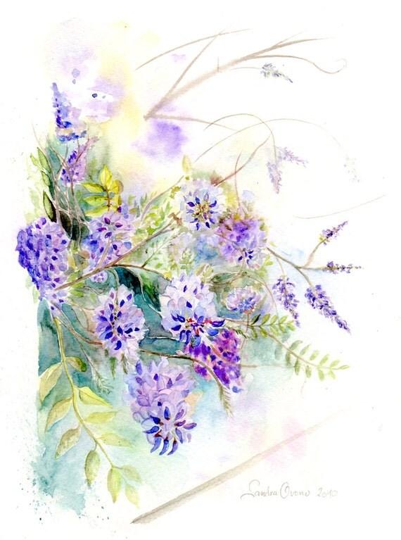 Aquarelle originale glycine en fleur violet rose lilas for Aquarelle livraison fleurs