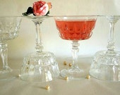 Vintage FOUR champagne glasses, cut glass,coupes, stemware, tall champagne glasses Mid Century crystal clear tall dessert or sherbet saucers