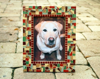 Brown and Maroon Mosaic Picture Frame, Earth Tones