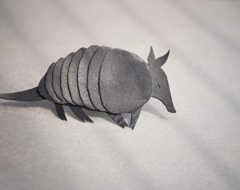 Armadillo Brooch. Natural black recycled leather.